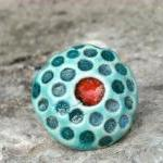 Red and turquoise ring, ceramic red..