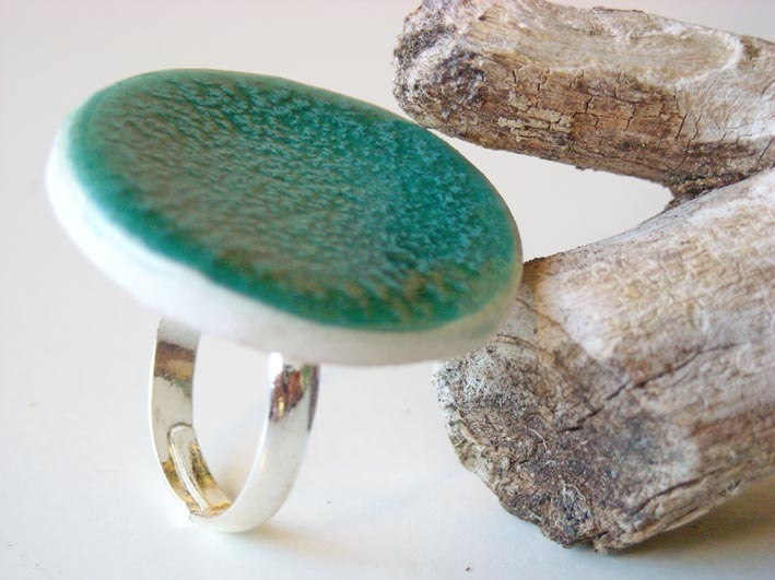 Round Turquoise Ring Fashion Jewelry Ceramic On Luulla