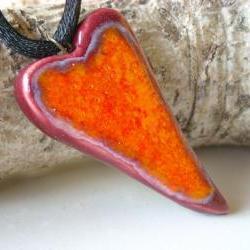 Heart pendant orange and burgundy