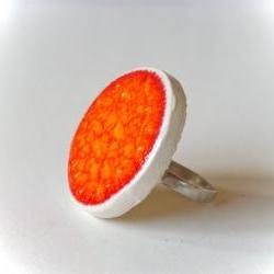 Orange ring, fashion jewelry ceramic