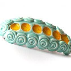 Aqua and yellow barrette, ceramic barrette, clay barrette, hair accessories spring summer collection